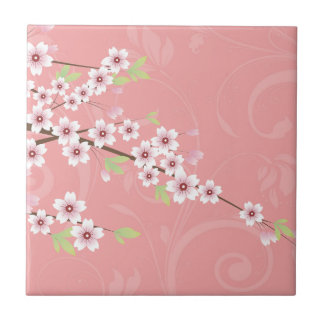 Soft Pink Cherry Blossom Small Square Tile