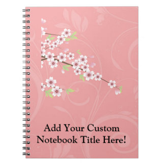 Soft Pink Cherry Blossom Spiral Note Books