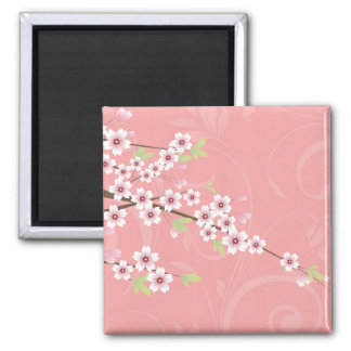 Soft Pink Cherry Blossom Square Magnet