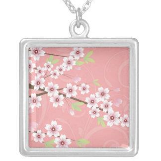 Soft Pink Cherry Blossom Square Pendant Necklace