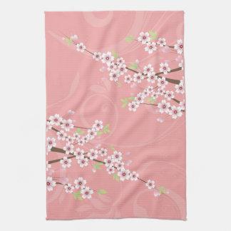 Soft Pink Cherry Blossom Tea Towel