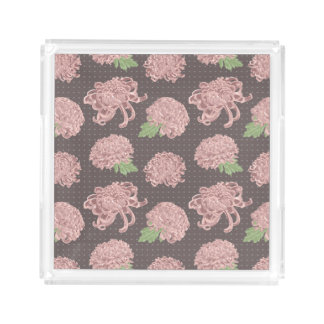 Soft Pink Chrysantemum Seamless Pattern Acrylic Tray