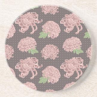 Soft Pink Chrysantemum Seamless Pattern Coaster