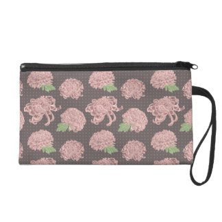 Soft Pink Chrysantemum Seamless Pattern Wristlet