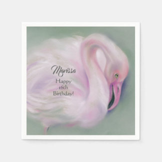 Soft Pink Flamingo Pastel Custom Party Disposable Serviette