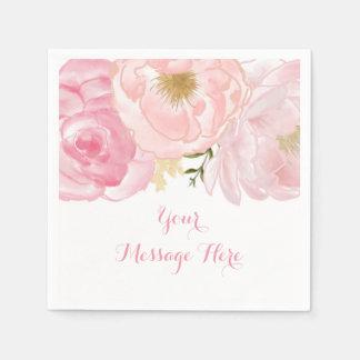 Soft Pink Floral Baby Shower Disposable Napkin
