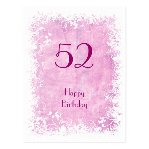 Soft Pink Floral birthday postcard