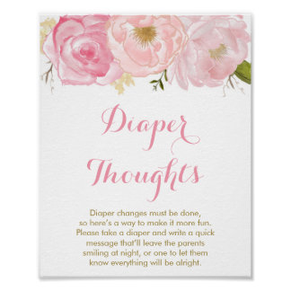 Soft Pink Floral Diaper Thoughts Game Sign Poster