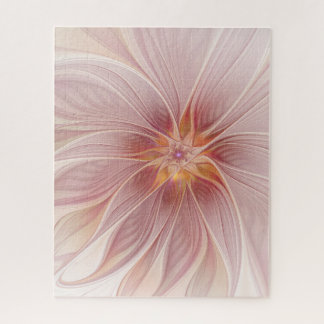 Soft Pink Floral Dream Abstract Modern Flower Jigsaw Puzzle