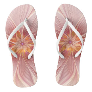 Soft Pink Floral Dream Abstract Modern Flower Thongs