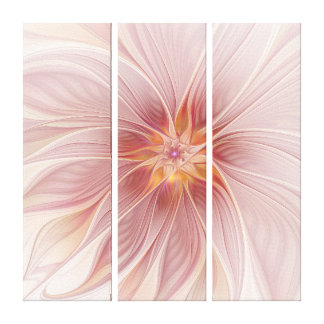 Soft Pink Floral Dream Abstract Modern Triptych Canvas Print