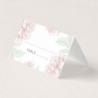 Soft Pink Floral Elegant White Garden Wedding Place Card