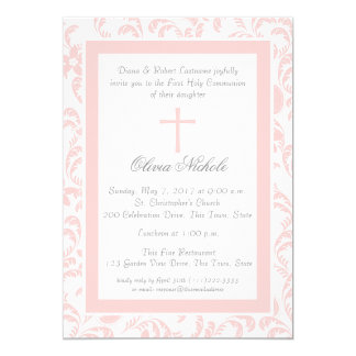 Soft Pink Floral Paisley First Communion 13 Cm X 18 Cm Invitation Card