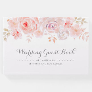 Soft Pink Floral Wedding Guest Book