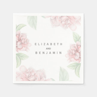 Soft Pink Floral White Elegant Wedding Disposable Napkins