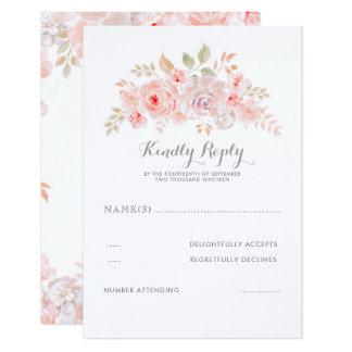 Soft Pink Flowers Elegant Modern Wedding RSVP Card