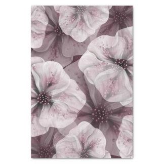 Soft Pink Flowers on Burgundy Tissue Paper