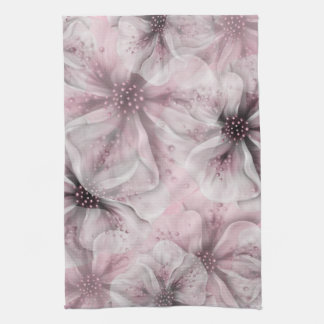 Soft Pink Flowers Tea Towel