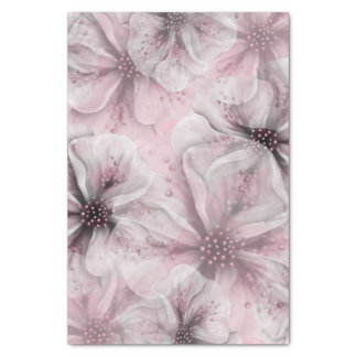 Soft Pink Flowers Tissue Paper