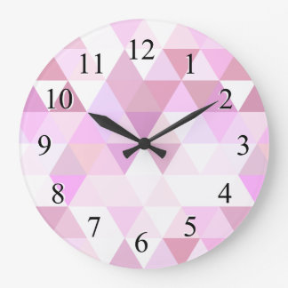 Soft Pink Geometric Triangle Pattern Large Clock