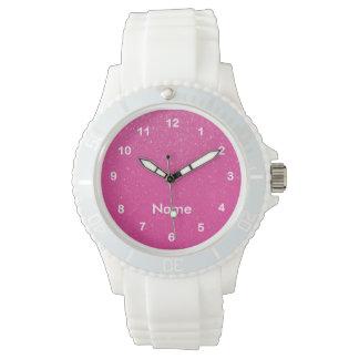 Soft Pink Glitter Print Wristwatch