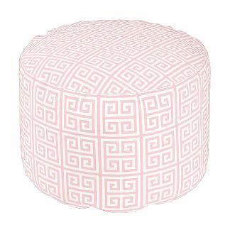 Soft Pink Greek Key Pattern Pouf