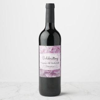 Soft Pink Hydrangea Flowers Wedding Wine Label