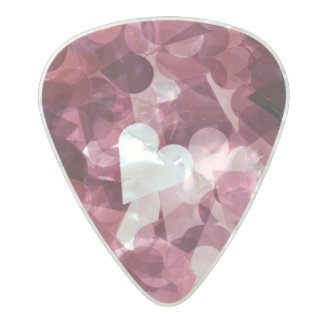 Soft Pink Kawaii Hearts Background Pearl Celluloid Guitar Pick