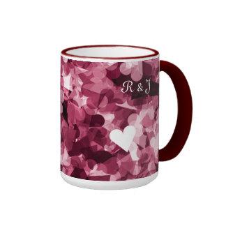 Soft Pink Kawaii Hearts Background Ringer Mug
