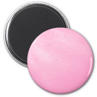 Soft Pink Leather Look (Faux) 6 Cm Round Magnet