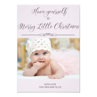 Soft Pink Merry Little Christmas Photo Card