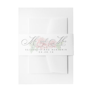 Soft Pink Peonies Garden Wedding Invitation Belly Band