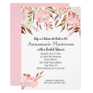 Soft Pink Peonies Wildflowers Leaves Bridal Shower Card