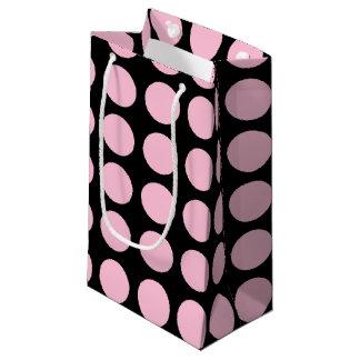 Soft Pink Polka Dots Black Small Gift Bag