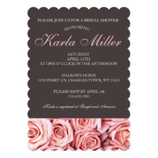 Soft Pink Rose and Gray Background Bridal Shower Card