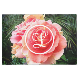 Soft pink rose close-up photo custom monogram doormat