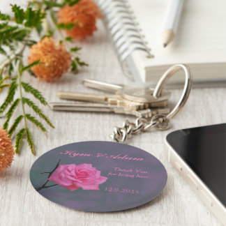 Soft Pink Rose Personalised Wedding Favour Key Key Ring