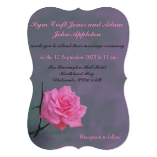 Soft Pink Rose Personalised Wedding Invitation