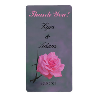 Soft Pink Rose Personalized Wine Labels