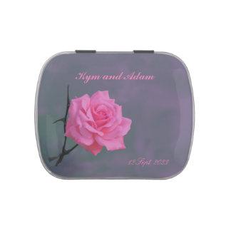 Soft Pink Rose Wedding Favor Candy Tin