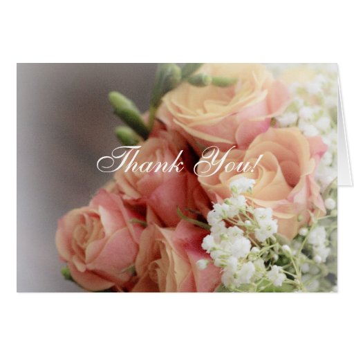 Soft Pink Roses and Baby's Breath Wedding Greeting Card