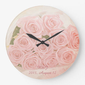 Soft pink roses bouquet and custom text clocks