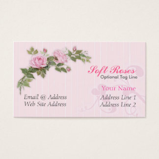 Soft Pink Roses Business Cards