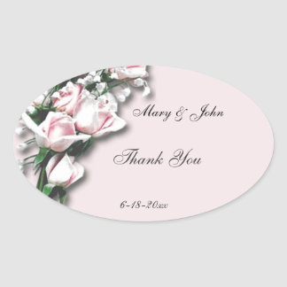 Soft Pink Roses Thank You Sticker