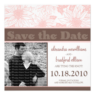 Soft Pink Sunflowers Save the Date Announcement