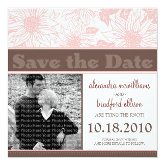 """Soft Pink Sunflowers Save the Date Announcement 5.25"""" Square Invitation Card"""