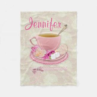 Soft Pink Tea Party Fleece Blanket