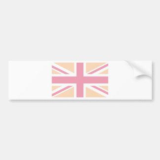 soft pink Union Jack British(UK) Flag Bumper Sticker