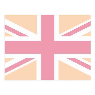 soft pink Union Jack British UK Flag Postcard