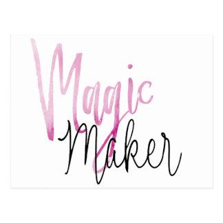 Soft Pink Water Color Magic Maker modern black scr Postcard